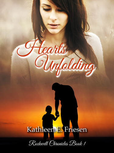Hearts Unfolding book cover silhouettes of man with child and woman watching