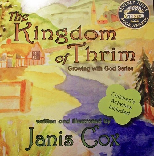 The Kingdom Of Thrim cover with a watercolour of a child's fantasy world.