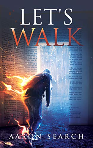 A man walking with flames trailing behind him.