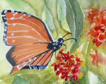 Watercolour painting of an orange butterfly