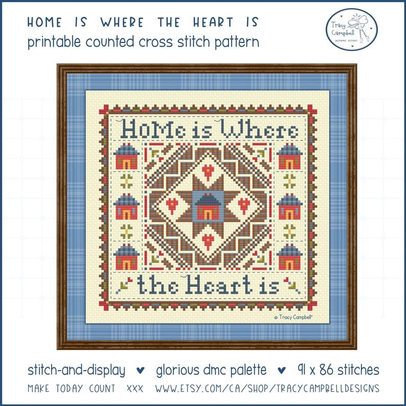 """Cross-stitch pattern """"Home Is Where The Heart Is"""""""